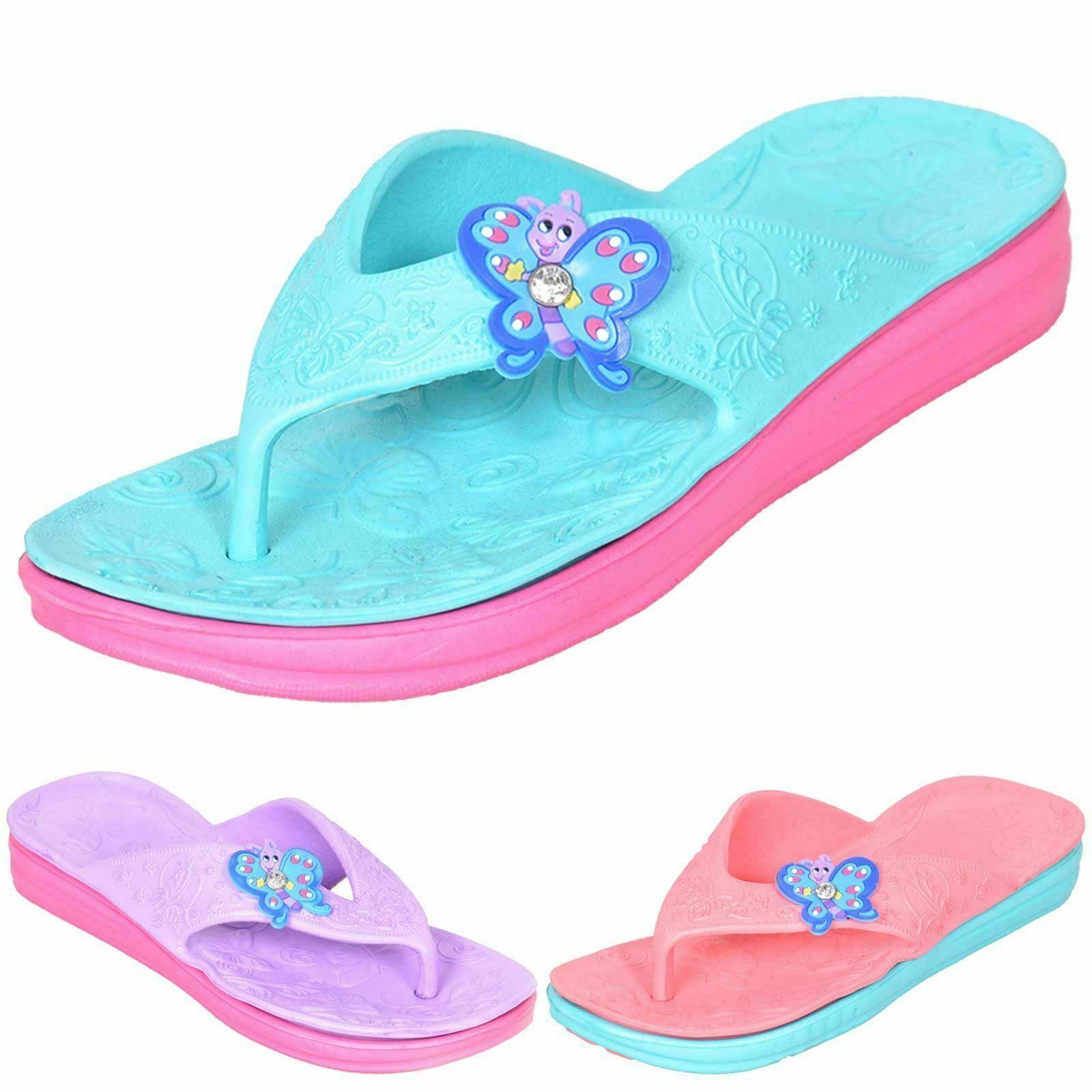 Girls Flip Flops Sandals Summer Beach Pool Holiday Butterfly Kids Flat Toe Post