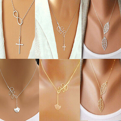 Fashion Women Branch Cross Leaf Bird Cross 8 Pendant Charm Plated Chain Necklace