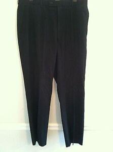 Louis-Raphael-Tailored-mens-size-34X32-dress-pants-slacks-black-blue-pinstripe