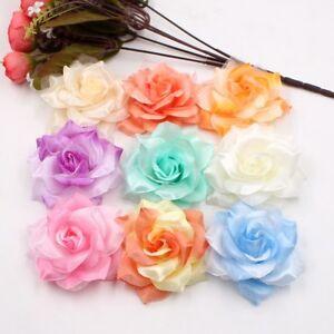 10pcs-Large-Silk-2-Color-Fire-Rose-Artificial-Flower-Head-Wedding-tion
