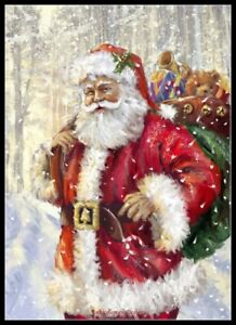 Chart DIY Counted Cross Stitch Patterns Needlework Arctic Santa Claus 3