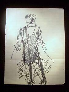 Heroic Pose 1946-59 Original Ink Sketch by C. Kelm