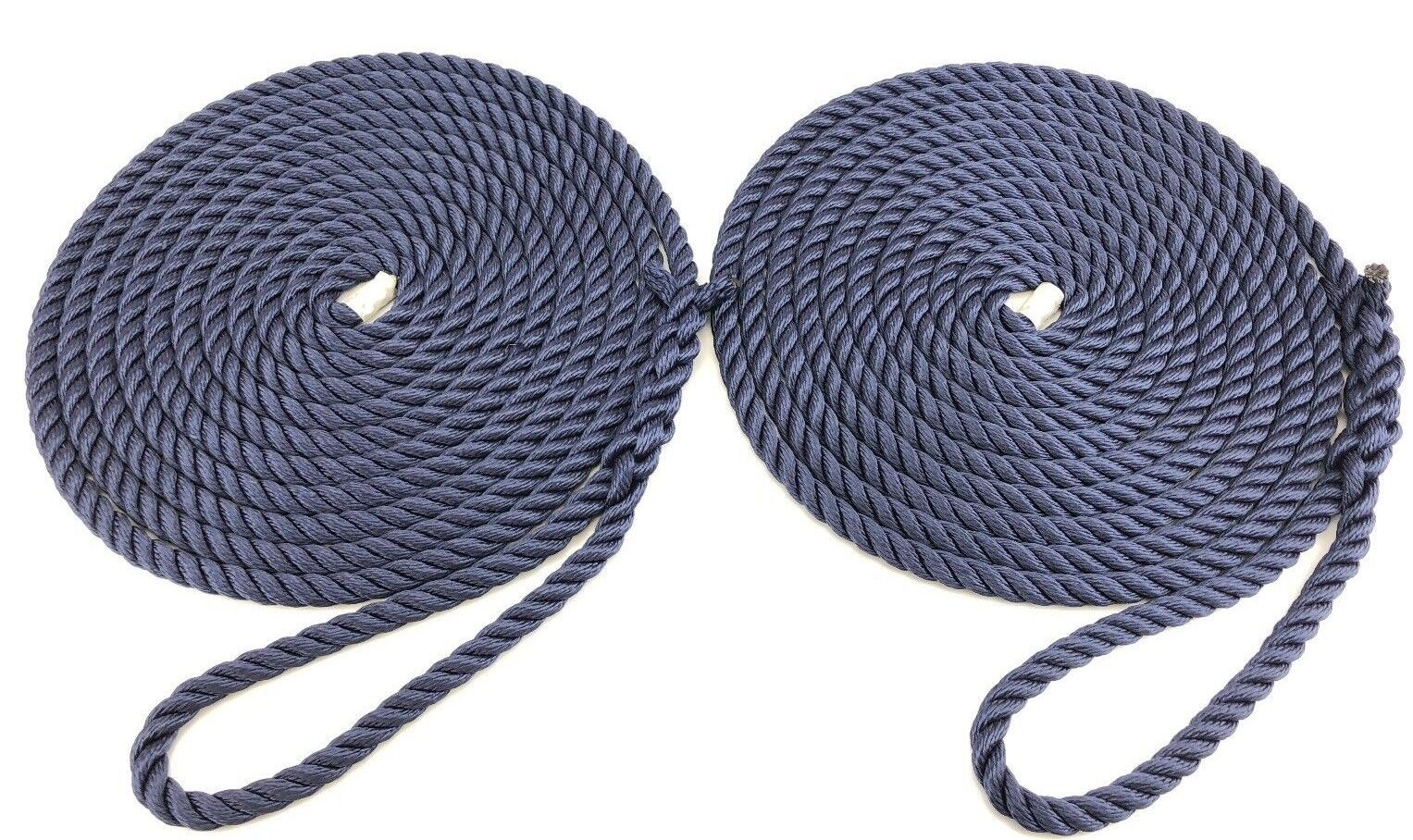 14mm Navy bluee Nylon Mooring Ropes, 2 x 16 Metres, Boats, Yachts, Lines,Soft Eye