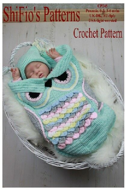 CROCHET PATTERN OWL COCOON PAPOOSE & HAT 3 SIZES #245  NOT CLOTHES