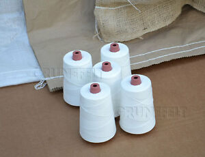 New 5 Cones 100% Polyester White 12/4 Thread for Portable Bag Closer Stitcher