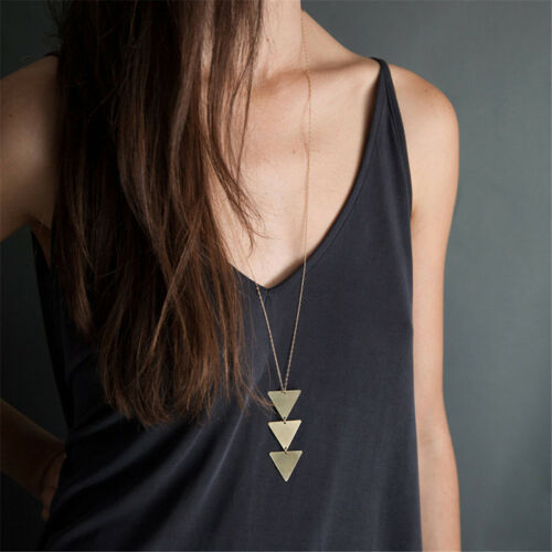 Simple Bar Pendant Charm Long Necklace Chain Women Fashion Jewelry Gift L