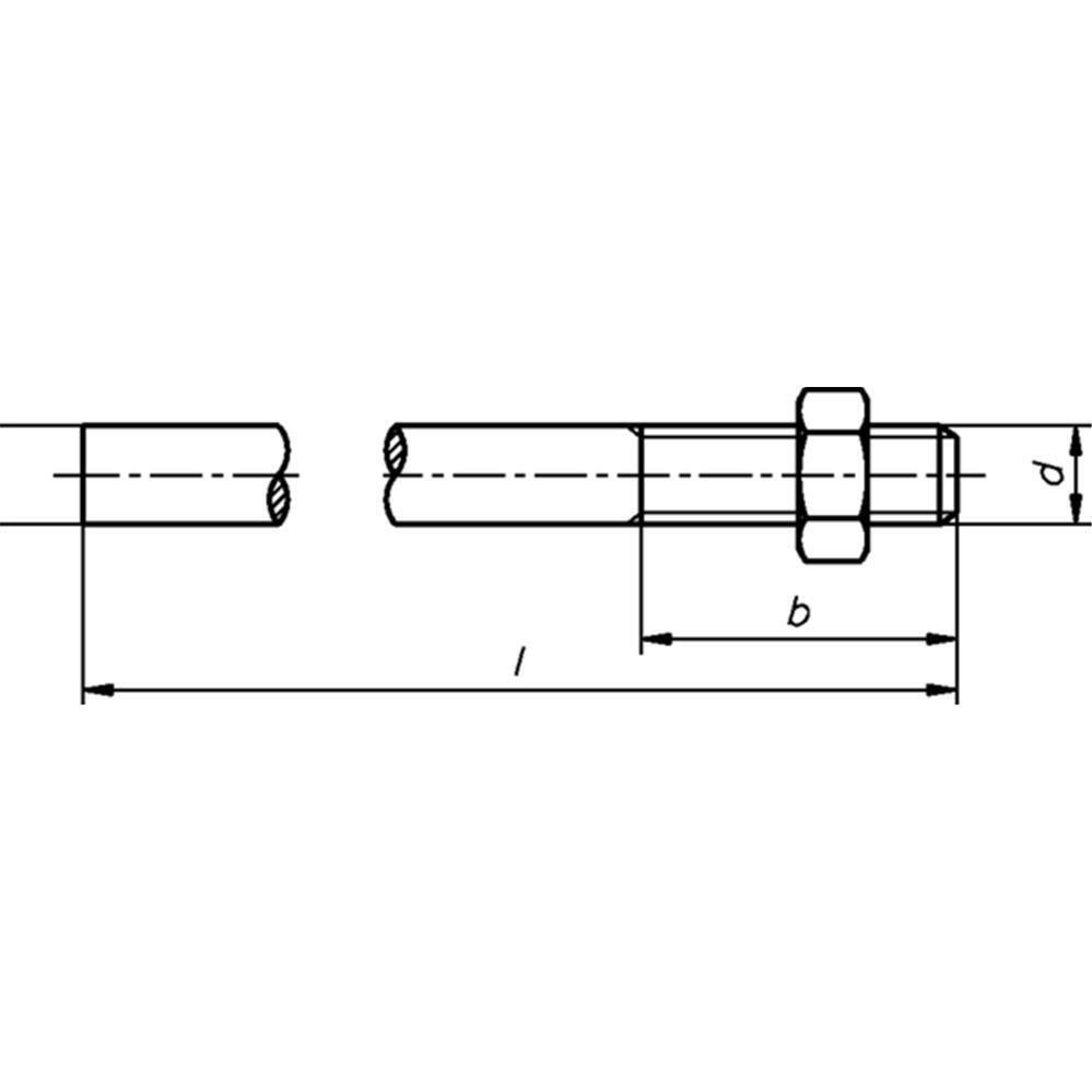 Anschweißenden mit Mutter - DIN 525 - Stahl blank