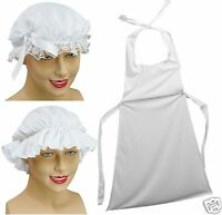 Girls Victorian Maid Mob Cap Parlour Maid Servant Apron Fancy Dress Costume