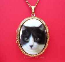Porcelain BLACK & WHITE CAT Kitten CAMEO Costume Jewelry Locket Pendant Necklace