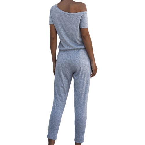 Womens One Shoulder Tracksuit Casual Lounge Wear Plain Jumpsuit Playsuit Trouser