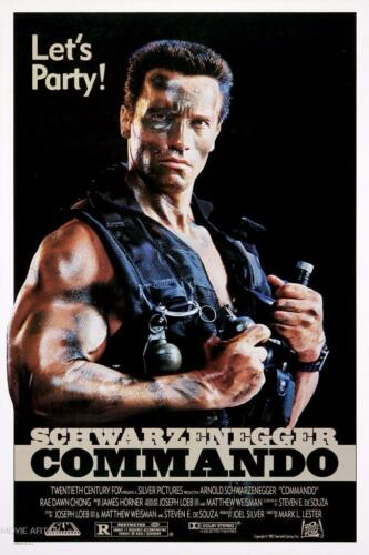 COMMANDO SCHWARZENEGGER VINTAGE MOVIE POSTER  FILM A4 A3 ART PRINT CINEMA