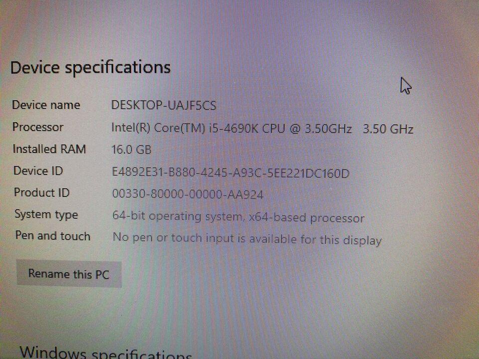 Selvbyg, I5 (3,5GHz) Ghz, 16 GB ram