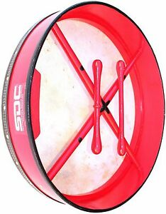 BODHRAN DRUM Irish Celtic 18 Inch Drums + CASE + 2 Tippers RED 01