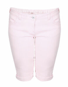 Ladies Girls Size 10 16 New Stretch Denim Knee Length Shorts Pink ...