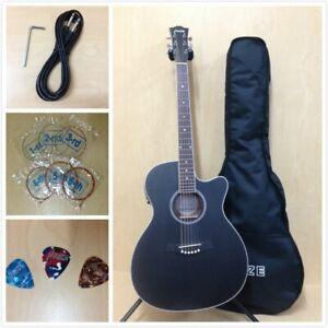 "40"" Haze 560CEQMBK OM Shape Acoustic Guitar,Satin Black w/EQ,Cutaway+Free Bag"