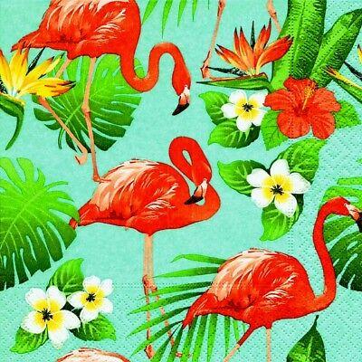 4 x Single Christmas Flamingo Winter  Tissue Paper 3 Ply Napkins Decoupage