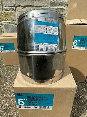 """Angle ASHT+ Double Wall Stainless Steel Insulated Chimney Pipe 6"""" x 30 Deg D"""