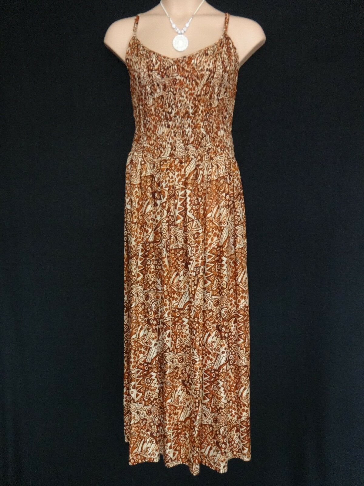 FRANKEN BROWN TAN Thin strap SUMMER MAXI DRESS HOLIDAY T PARTY PLUS SIZE 10 - 12