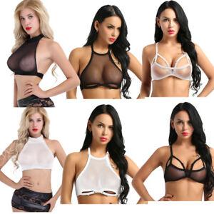 Womens-Transpartent-Mesh-Crop-Top-Cami-Bustier-Bra-Vest-Tank-Tops-Blouse-Shirt