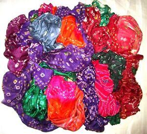 CA-LOT-PURE-SILK-Antique-Vintage-Sari-REMNANT-Fabrics-100-GRAMS-Bandhani-ABCVV