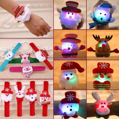 LED Light Glow Xmas Slap Circle Bracelet Wrist band Christmas Dazzling Toy SQ