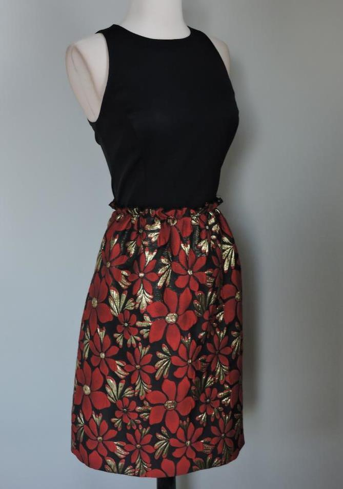 NWT TAHARI Faille and Metallic Floral Fit-and-Flare Dress 6 ( Small )