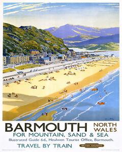 Vintage Art Print Poster Barmouth Wales Travel A1 A2 A3 A4 A5