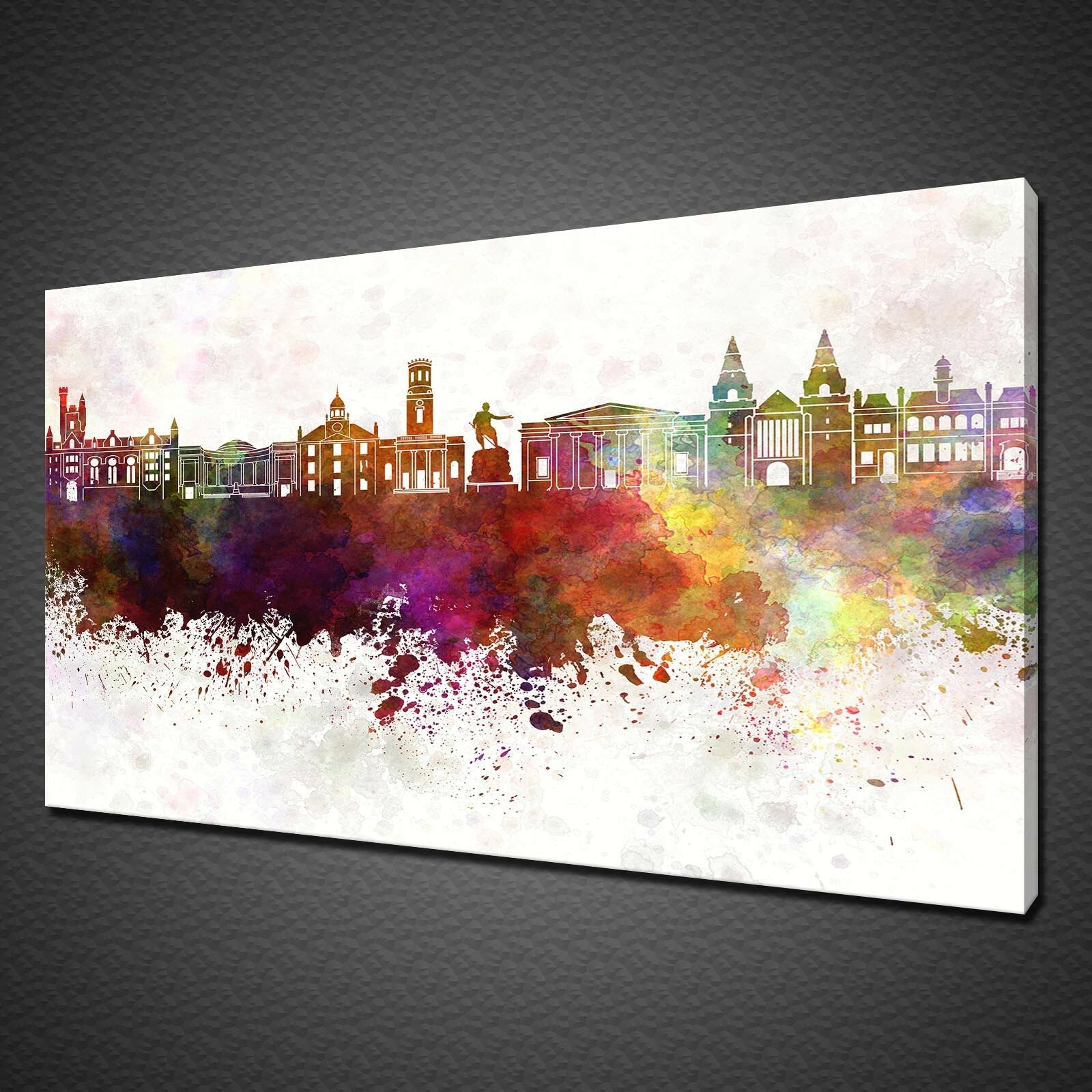 SKYLINE ABERDEEN WATERCOLOUR PAINT STYLE CANVAS PRINT WALL ART PICTURE PHOTO