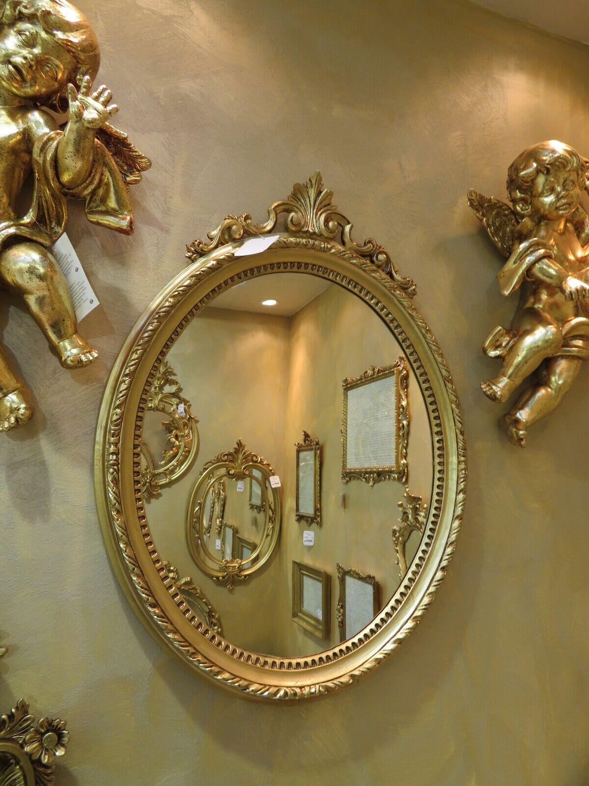 Miroir Mural Baroque Blanc-Or Antique Rokoko 63X46 de Couloir Ovale