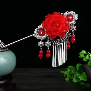 Floral-Hair-Clasp-Step-Shake-Beads-Tassels-Stick-Traditional-Chinese-Hairpin-Red