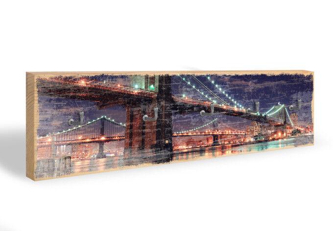 Holz Schlüsselbrett Manhattan Bridge at Night 02 + 5 5 5 Haken bunt 754880