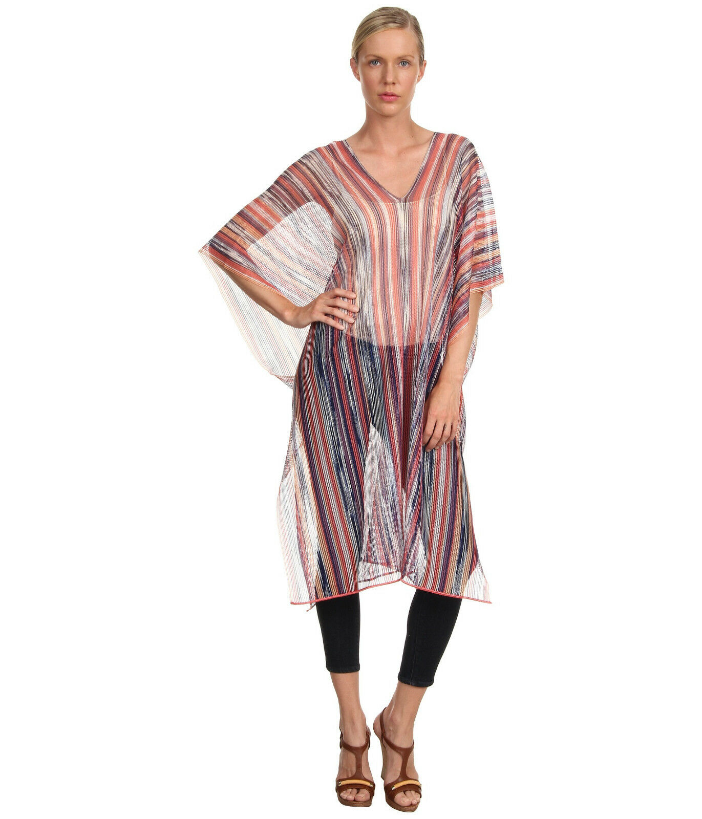 NEW MISSONI Peach Caftan Poncho Swimsuit Cover Up  Size   OS