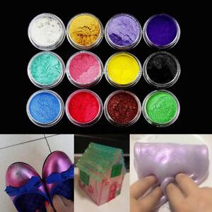12-Colores-Cosmeticos-Polvo-De-Mica-Pigmento-Jabon-Bano-Aditivo-de-arte-en-unas-Hagalo-usted-mismo