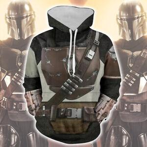 Star Wars The Mandalorian Print Hoodie Cosplay Costume Sweatshirt Coat