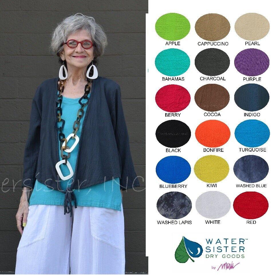 WATERSISTER Cotton Gauze BOLERO Tie Jacket Top 1(S M) 2(L XL) 3(1X) 2019 FarbeS