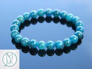 Apatite-Natural-Gemstone-Bracelet-6-9-039-039-Elasticated-Healing-Stone-Chakra-Reiki