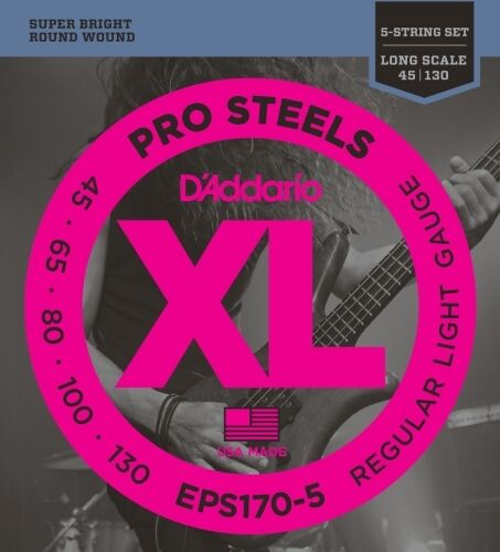 Long Scale D/'Addario EPS170-5 ProSteels Bass Guitar 5-Strings 45-130 Light