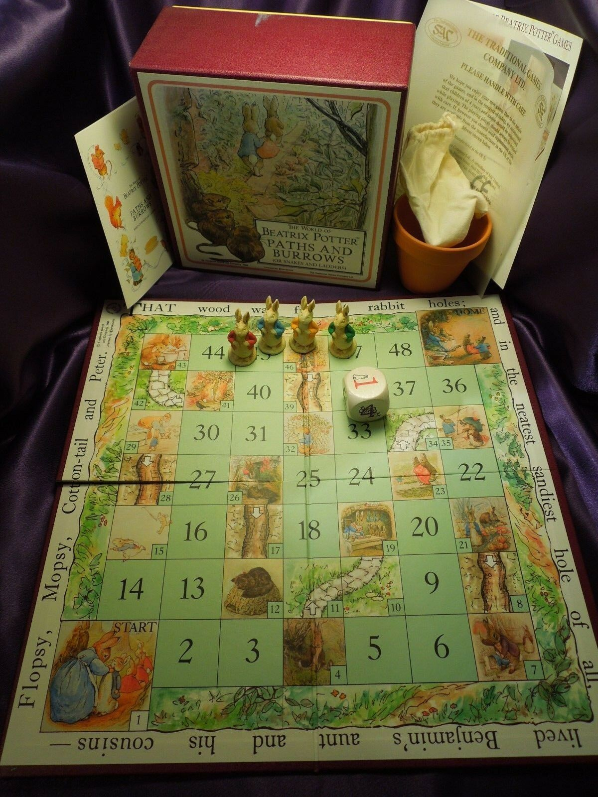 The World of Beatrix Potter Paths and Burrows Board Game Snakes and Ladders 1988