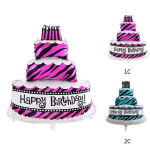 Image Is Loading Big Size Cake Shape Happy Birthday Foil Helium