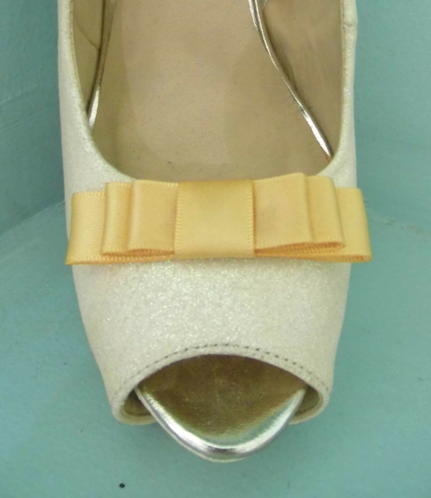 2 Small Warm Gold Triple Bow Clips for Shoes - other colours on request