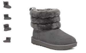 UGG Fluff Mini Quilted Charcoal Boot