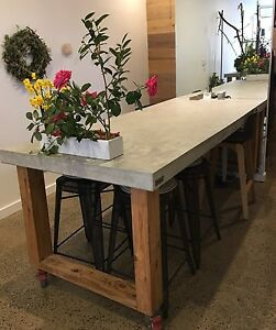 Details About 2 1m Polished Concrete Timber Dining Table Indoor Outdoor Patio Furniture