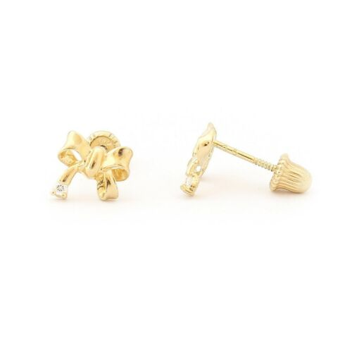 14k Yellow//White Gold Bow Stud CZ Accent Stud Earrings w Child Safe Screwbacks