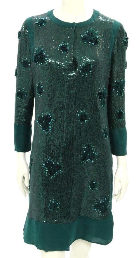 Beautiful Designer VALENTINO Ladies Green Sequins, Flowers, Beads Dress ITALY