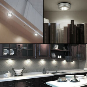 Details About 3pcs Stick On Battery Operated Led Light Push Off Kitchen Under Cabinet Lamps
