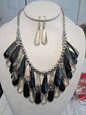 Black And Clear Smokey Faceted Lucite Bead Drops Gold Tone Necklace Earring Set