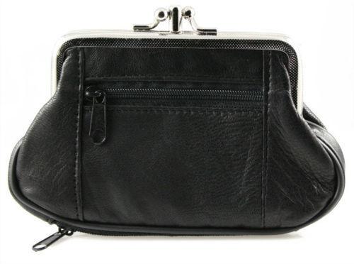 Black Genuine Leather Women Dual Pocket Change Large coin purse holder FREE SHIP