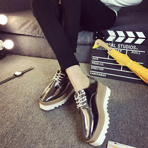819e3ae9bc0d Women s Shiny Lace Up Flats Double Platform Creepers Shoes Oxfords ...