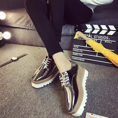 Women's Shiny Lace Up Flats Double Platform Creepers Shoes Oxfords 2017 Fashion