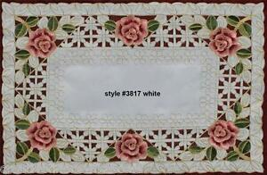 Spring-Embroidered-Rose-Daisy-Floral-Cutwork-White-Placemat-11x17-034-3817W